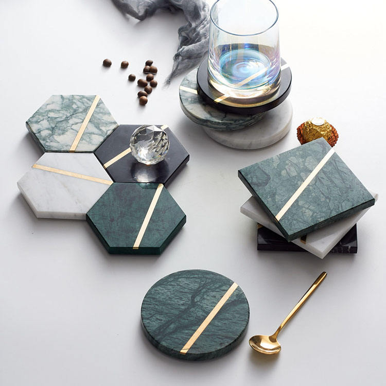Stone coasters black green white marble handcrafted ornate seamless brass insert 100mm square round hexagon marble coasters