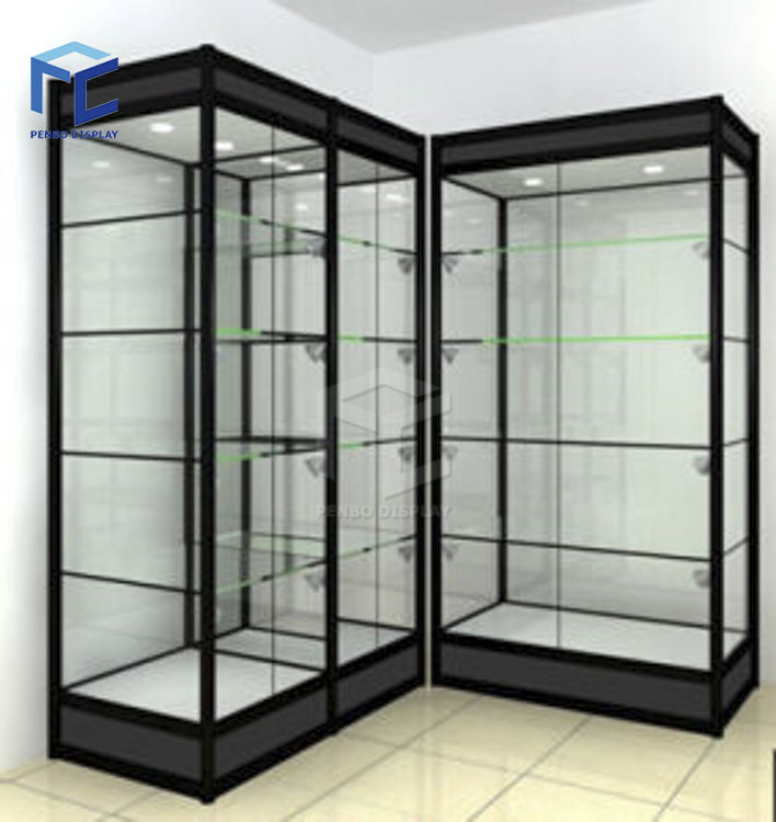 Commerical cheap price golden aluminum frame black panel glass tower display case