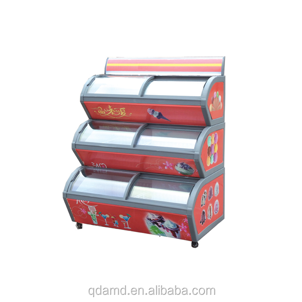 Curved glass 3 layer ice cream showcase freezer supermarket refrigeration equipment for icecream display