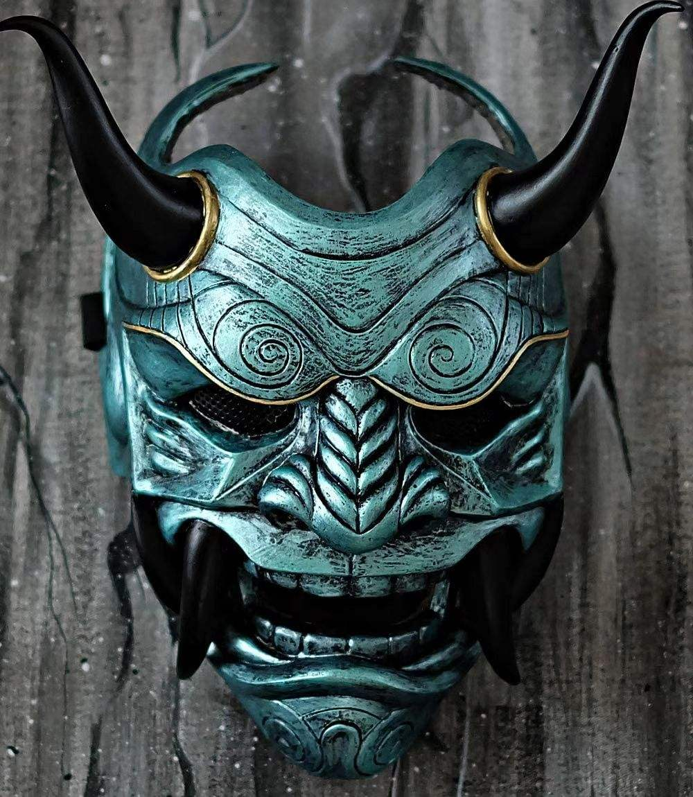 Latex and resin soft hard Mask Full face Hannya Demon Oni Halloween costume Evil Cosplay
