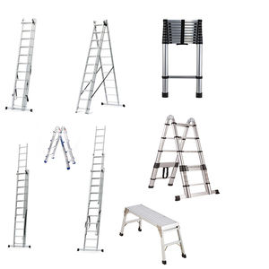 In Stock Wholesale House Platform Folding Extension Step Ladder Aluminum, Telescopic Attic Foldable Aluminum Ladder
