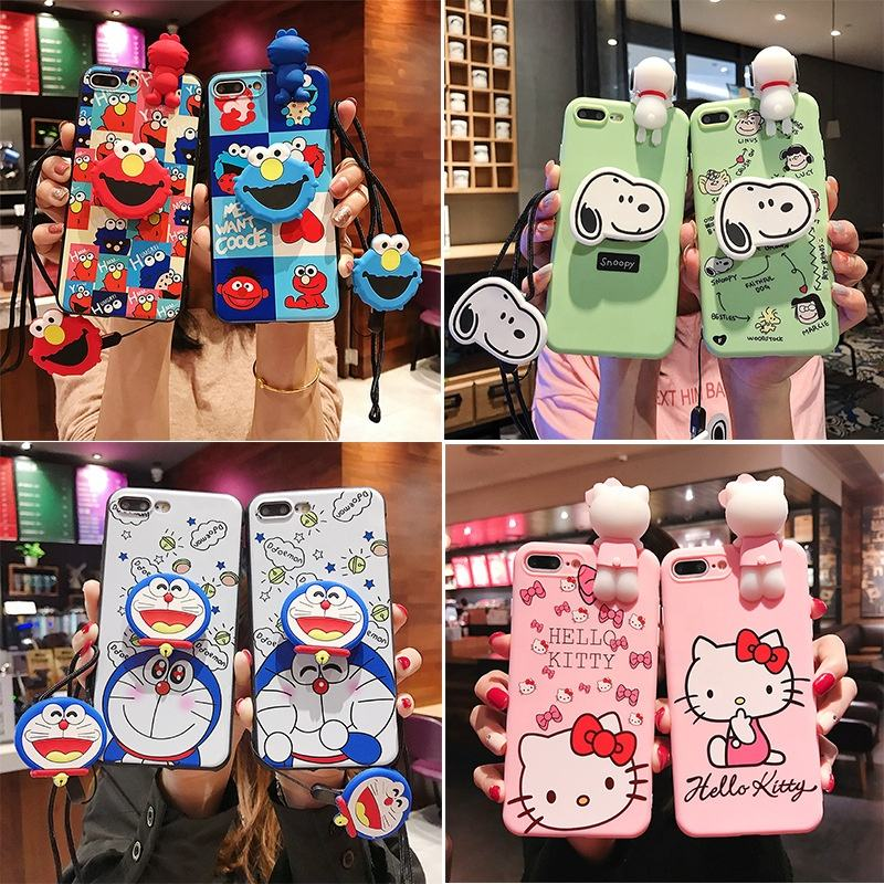Applicable for iPhone XS Max Mobile Phone Cases Covers Bracket Lanyard for OPPO R17/X23 Soft Cartoon Couples Phone Case