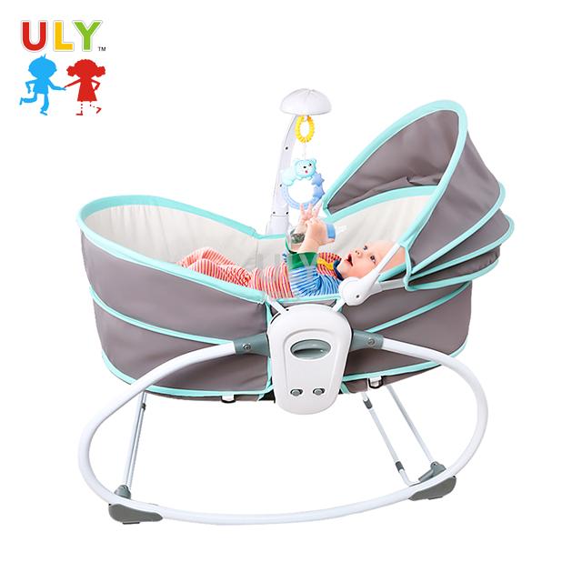 XiuPan Electric Infant Baby Rocker Baby Swing Electric Baby Cradle Newborn Crib Bed Swing Sleeping Rocking Basket Bassinet Comfotable Fabric Blue