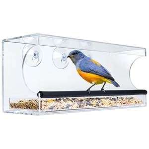 Easy Clean Large Size Clear Acrylic Bird Feeder with Removable Tray