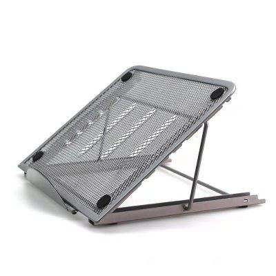 Wholesale Supply Black Desktop Foldable Adjustable Angle Iron Metal Mesh Laptop Stand For Holder Computer