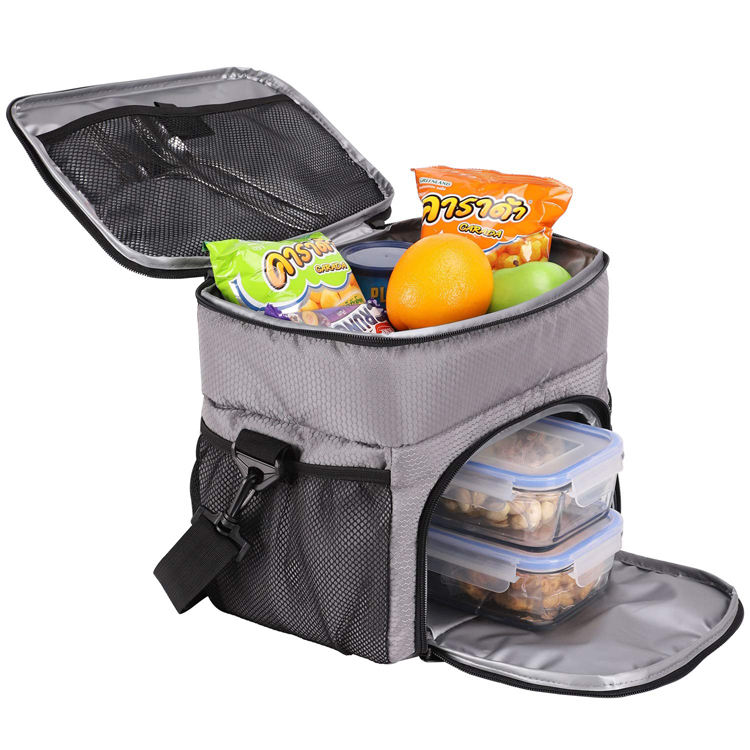 Custom Dual Compartment Insulated Lunch Box Bag Cooler Tote Meal Prep Bag for Fitness, Picnic
