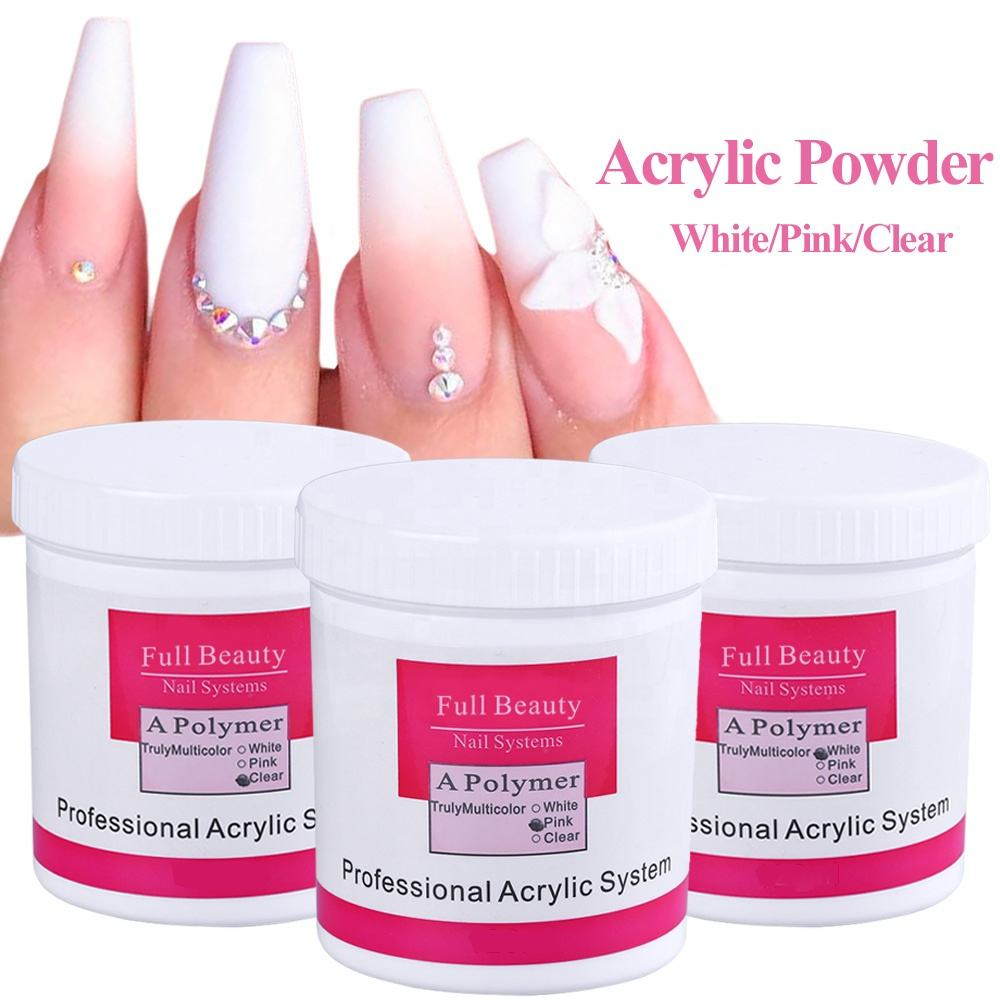 Acrylic Powder Clear Pink White Carving Crystal Polymer 3D Nail Art Crystal Powders Poly Gel Tips Builder for Nails