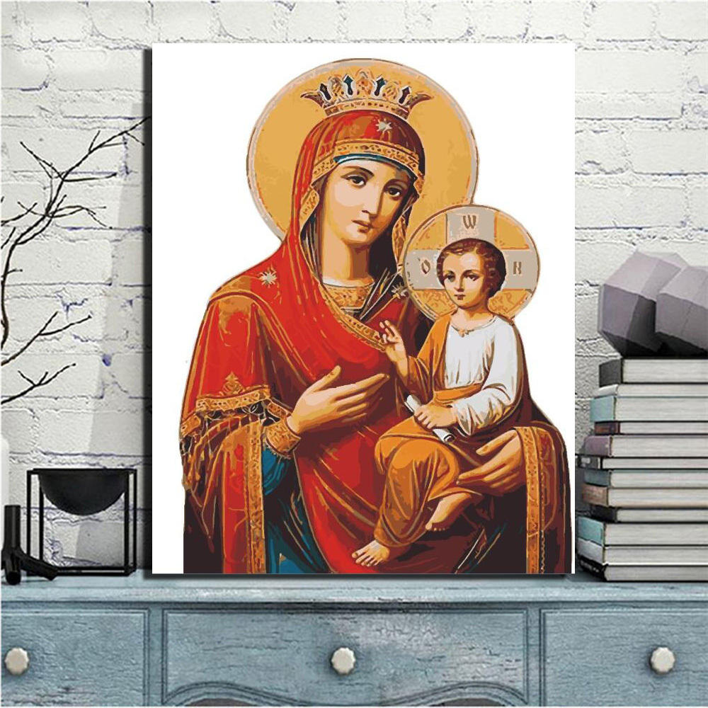 Virgin Mary And Jesus Canvas HD Virgin Mary Painting Christian Wall Decor printing services posters wall pop art