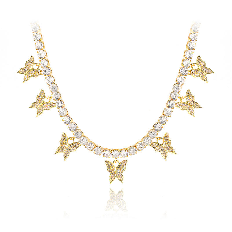 Foxi Hot Sale 4.0mm Tennis Chain With Fashion Butterfly Shaped Gold Large Costume Jewelry Necklaces