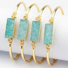 LS-A040 hot selling amazonite stone wire wrapped bangle with gold plating cuff bracelet fashion bangle wholesale