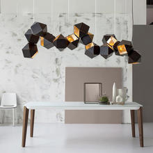 Nordic design for restaurant bar decoration black stainless steel irregular square chandelier
