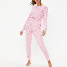 Custom Women Colourblock Striped Casual Loungewear One Piece Jumpsuit Soft flannel women onesie pajamas
