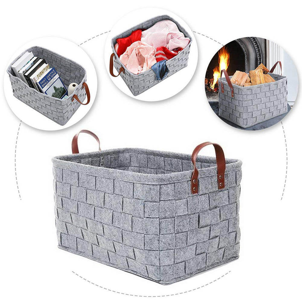 Hamper Laundry Bucket wool felt storage basket