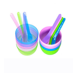 High quality wholesale diy cream mixing facial plastic cosmetic bowl and stick brush set