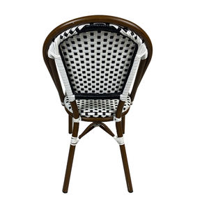 Wholesale Discount French Bistro Outdoor Balcony French Cafe Rattan Aluminum Wicker Chair
