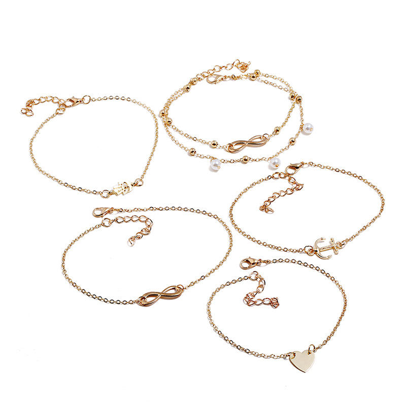 Hot Ankle Bracelets Set for Women Boho Beach Adjustable Foot Chain Anklet Foot Jewelry 5pcs/set