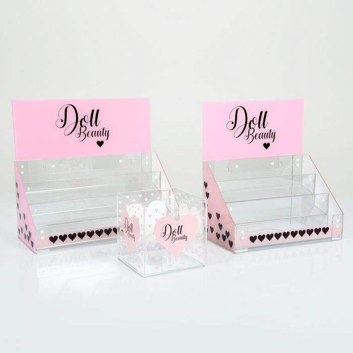 Acrylic Counter Cosmetic Eyelash Display Stand For Retail Store Tools