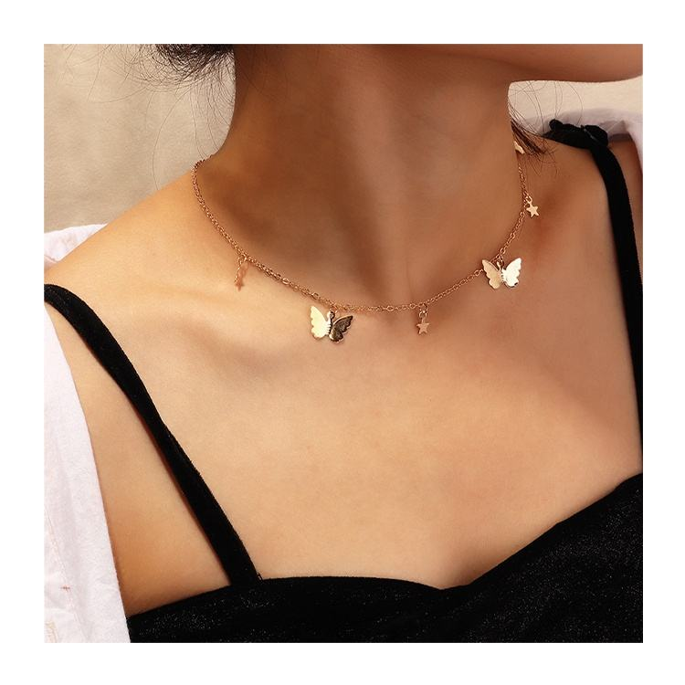 Alloy Jewelry Pentagram Pendant Clavicle Chain Silver/Gold Plated Butterfly Choker Necklace