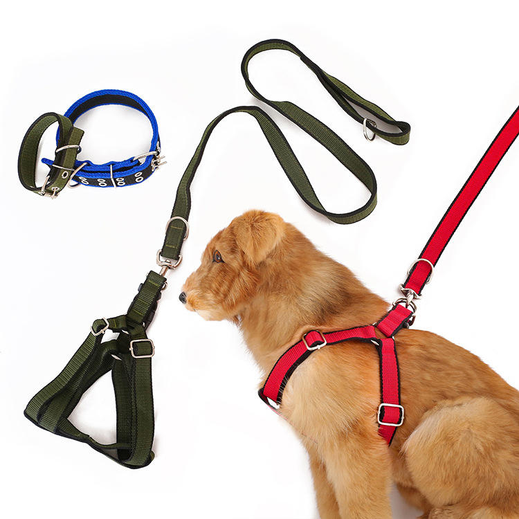 3 PCS Pet Collar Harness & Leashes Nylon Dog Leads Large Dog High Quality Dog Leashes