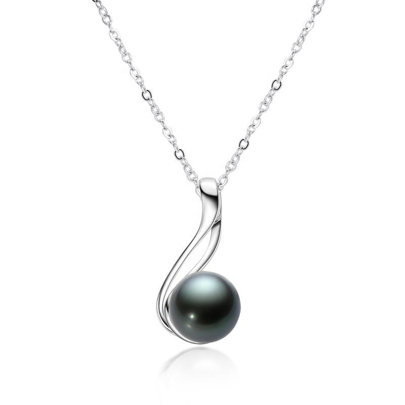 Luxury Rhodium 925 Sterling Silver Jewelry 10ミリメートルRound Tahitian Black Pearl Necklace