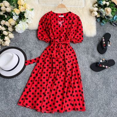 French Summer Polka Dot Print V-neck Puff Sleeve Maxi Dress For Yong Girl