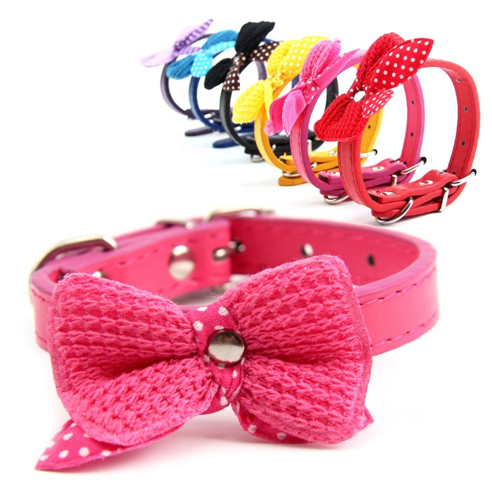 Cute Knit Bowknot Cheap PU Pet Collars for Small Dogs