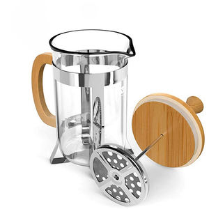 Wholesale Eco-Friendly Bamboo Coffee Maker French Press coffee plunger with glass French Press