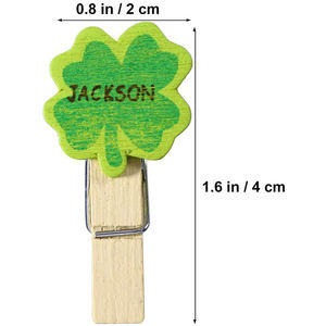 50pcs Mini Natural Wooden Clothespins Four Leaf Clover Shamrock Wooden Pegs Photo Clips Note Memo Card Holder