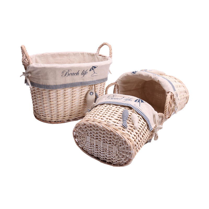 Excellent Quality Top Grade Large Willow Laundry Cheap Wicker With Utility Basket Leather Handle