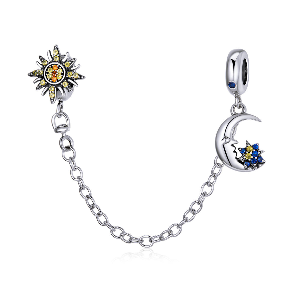 Hot sale sun and moon silver 925 safety chain charm jewelry