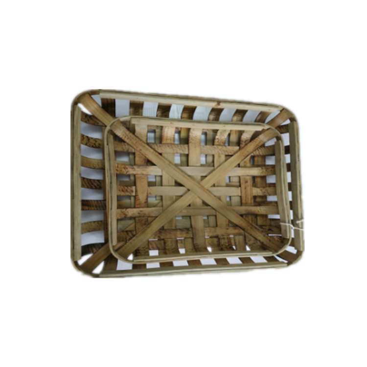 2pcs per set wall hanging Decorative Farmhouse Chic Decor Wooden Tobacco Storage Basket