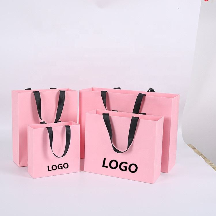 Custom Logo Printed Matt Laminated Pink Paper Shopping Bag With Grosgrain Ribbon Handle