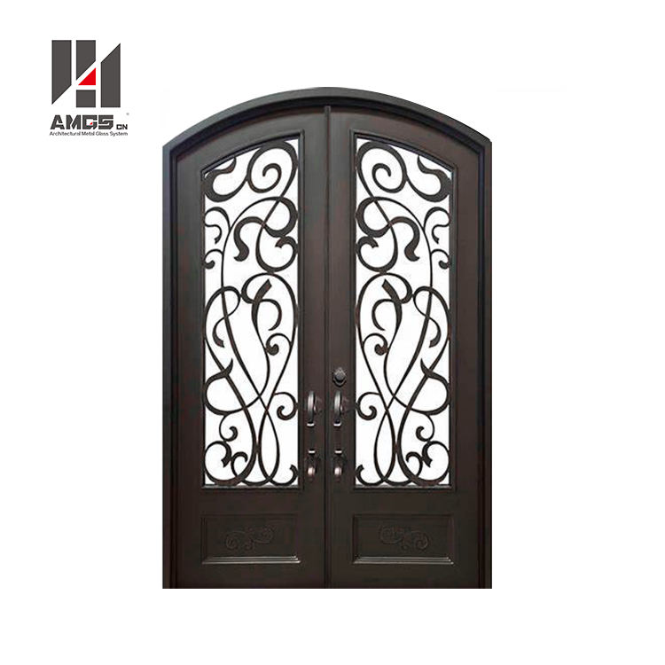 Interior Or Exterior Modern Design House gates, s Garden Security Frosted Tempered Glass Decorative Wrought Iron Door
