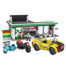 COGO gas station ABS plastic assembly blocks toys car and motorcycle building legos bricks