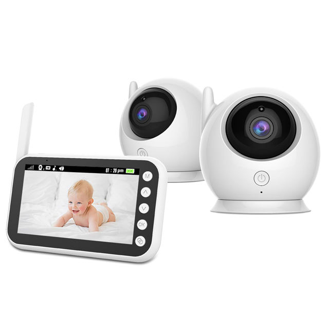 2.4g wireless video baby monitor camera two way back temperature sensor crying audio 480P display monitoring with 2 cameras