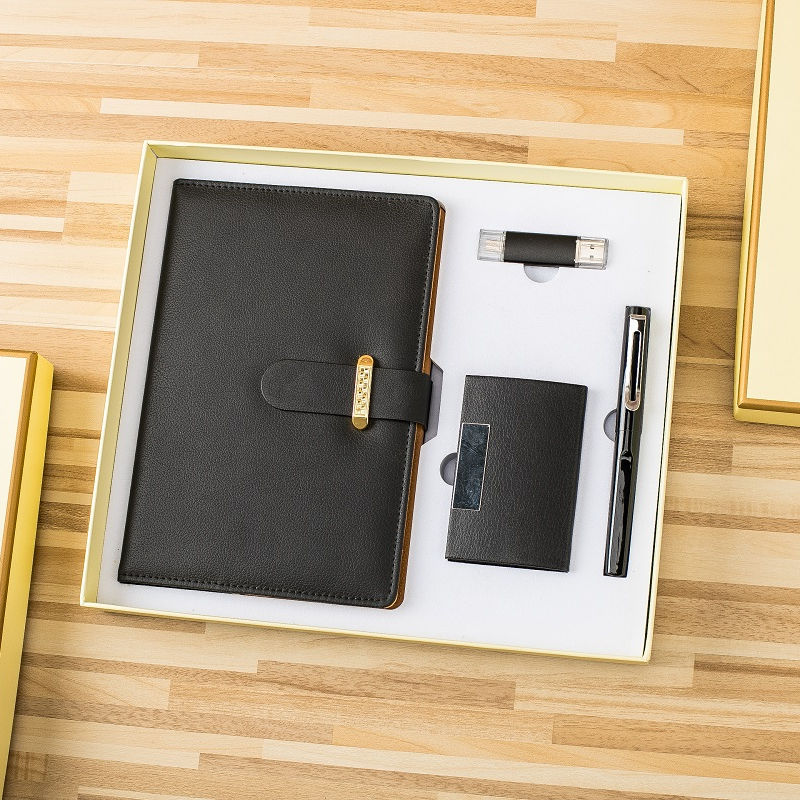 business gift corporate A5 gold buckle notebook gift set with pen+name card holder+16GB USB flash drive