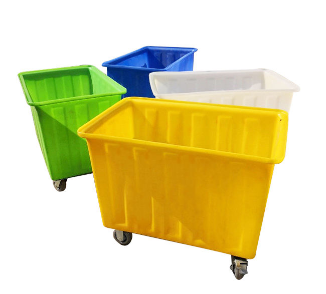 Rotomolded high quality heavy duty plastic moving laundry trolley cart on wheels