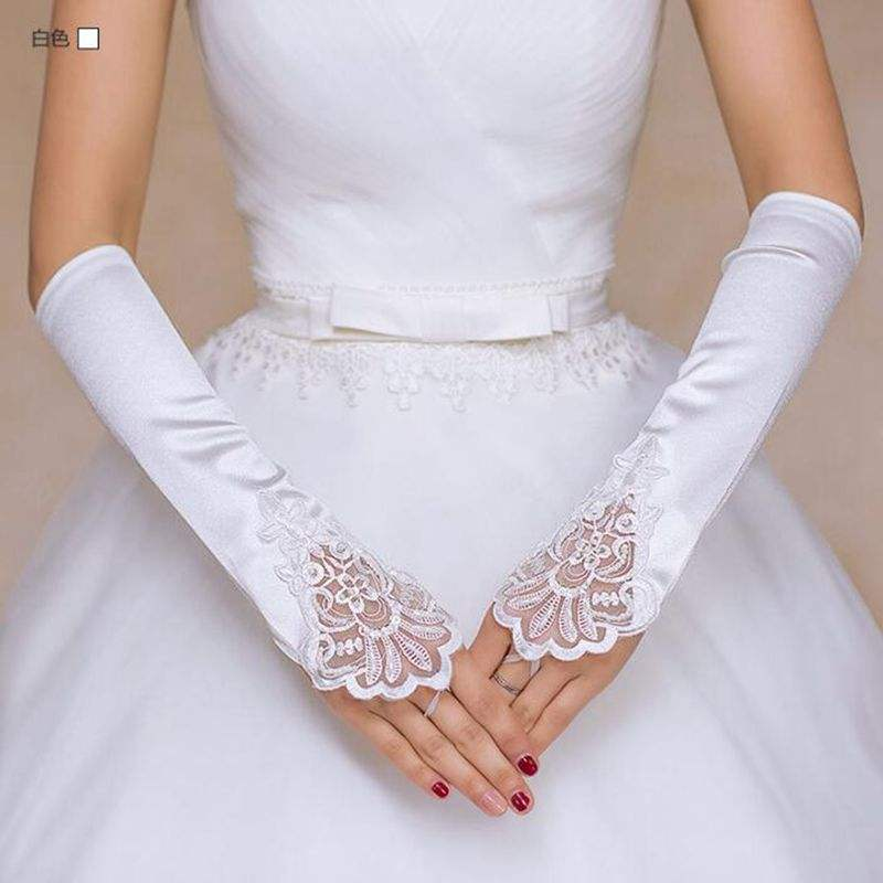 Elbow Length Satin Fabric Flower Lace Bridal Gloves Wedding Gloves fingerless