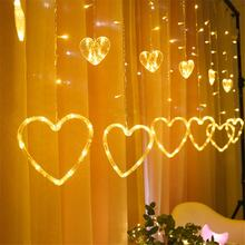 3M 138LED  Heart shaped curtain light fairy string Christmas garland lights for Christmas party wedding decoration