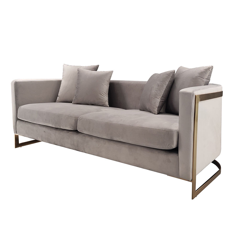 European Style Luxury 3 seater Grey Velvet sofa with Shiny Polished Gold Steel Frame Round Corner Long Couch