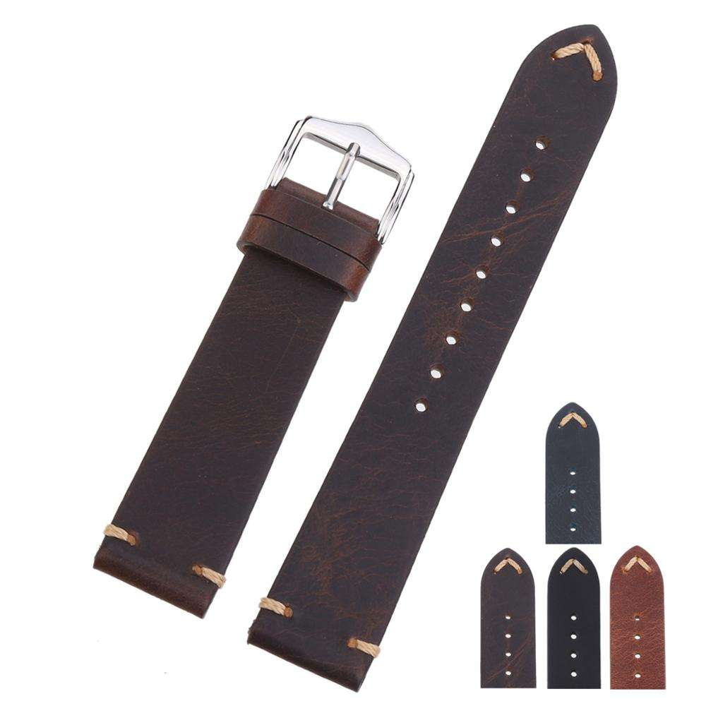 EACHE 18mm 20mm 22mm Vintage Handmade Genuine Leather Watch Strap