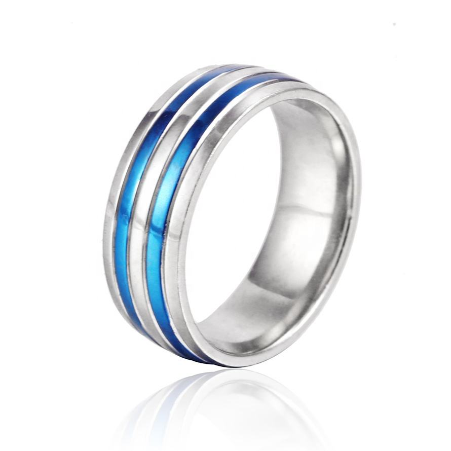 inoxidable Stainless Steel Ring Band Silver Recessed Line Vintage Tungsten Ring