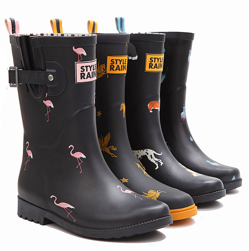 ladies customized western antislip printed hotsale new style half ankle rubber wellies welly rain boots for women