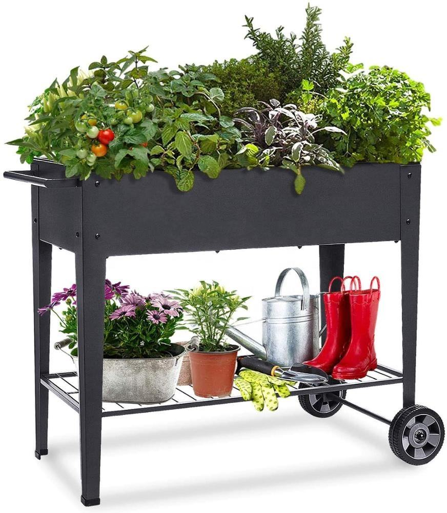 Amazon Hot sale Movable Raised Planter Box with Legs Elevated Garden Bed On Wheels for Vegetables Herb Patio Planter Stand