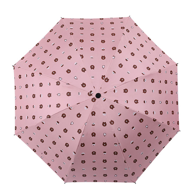 Hot pink bear cute portable children pencil umbrella