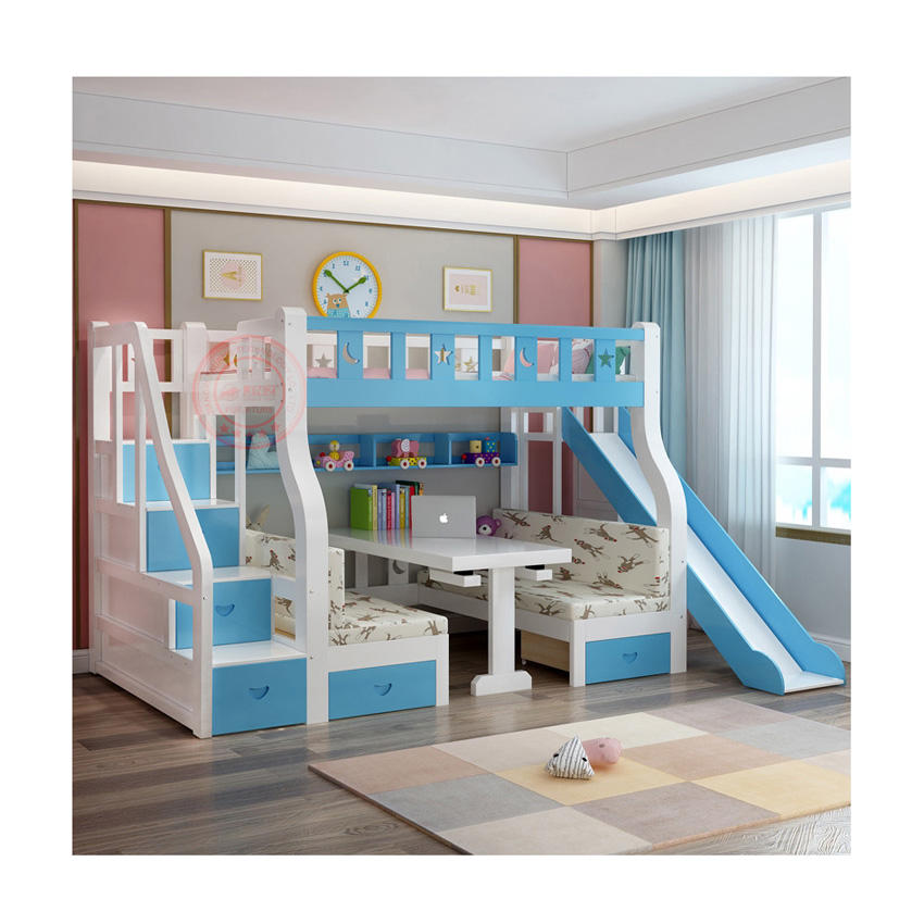 Factory Direct Customized kids loft bed kids bunk beds with slides double decker bed kids