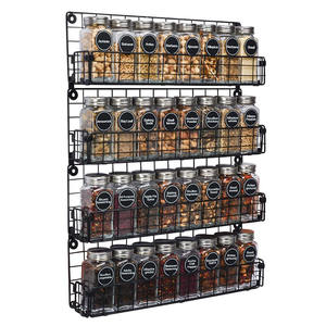 Amazon Hot Selling Wall Mounted 4 Tier Stackable Metal Spice Rack Spice Storage Shelf