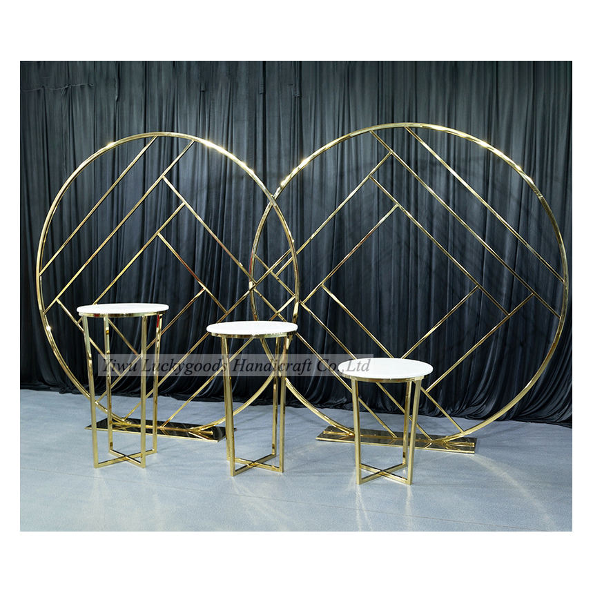 LDJ1100 New Panel gold metal round stainless steel backdrop for wedding event occassion