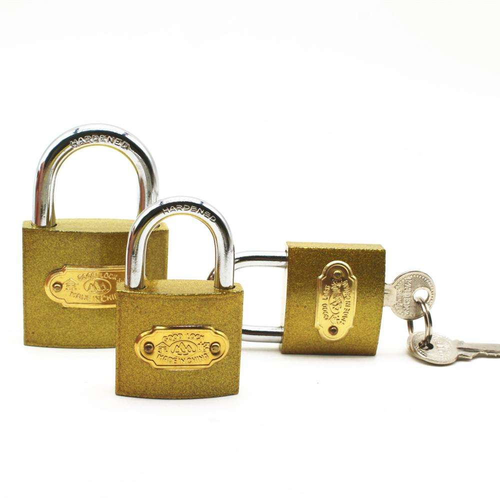 Factory cheap middle duty golden iron cylinder imitate brass painted padlock