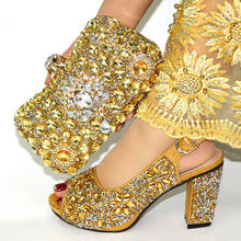 Wholesale Italian matching African gold shoes and bags to match S180823